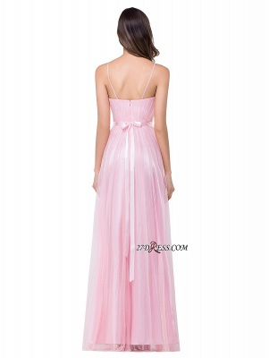 Pink A-Line Ruffles Spaghetti-Straps Simple Open-Back Evening Dress_3