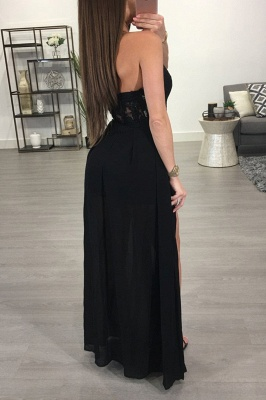 Sexy Black Halter Split 2020 Prom Dress Lace Chiffon On Sale BA7347_3