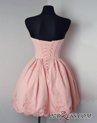 Cute Pink Sweetheart-neck Short Lace Homecoming Dress_3