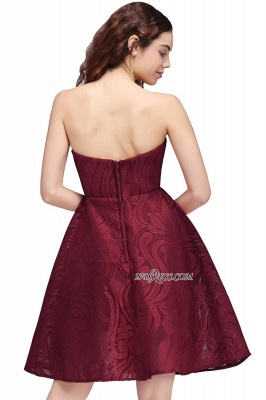 Short Simple Strapless Sleeveless Burgundy A-line Homecoming Dress_4