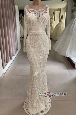 Mermaid Attractive Jewel Long-Sleeves Appliques Wedding Dresses_3