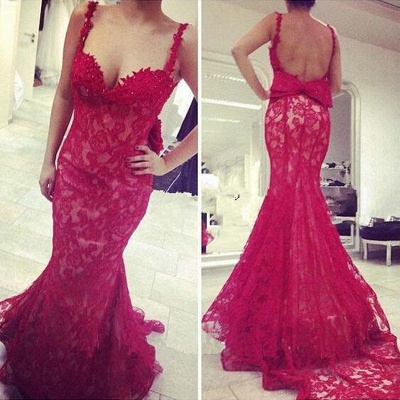 Gorgeous Red Lace Mermaid 2020 Evening Dress Bowknot Straps_3