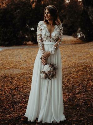 Charming Long Sleeves Lace Appliques Bridal Gowns | Long V-Neck Wedding Dress With Front Split BC3657_5