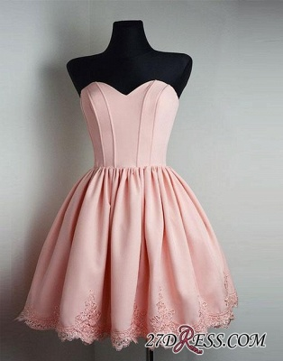 Cute Pink Sweetheart-neck Short Lace Homecoming Dress_4