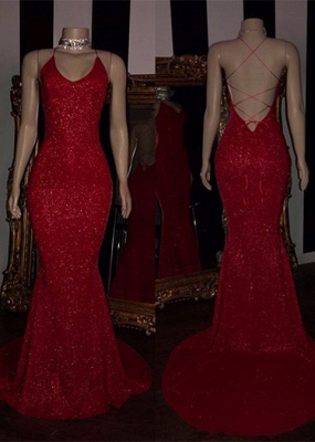 Sexy Red Sequins 2020 Prom Dresses | Mermaid Strings Back Evening Gowns BC1379_1