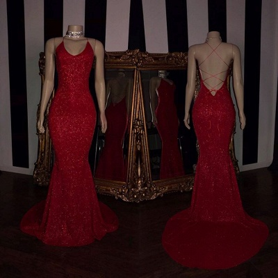 Sexy Red Sequins 2020 Prom Dresses | Mermaid Strings Back Evening Gowns BC1379_2