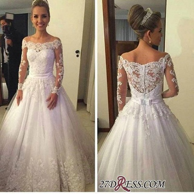 A-line Lace Long-Sleeves Off-the-shoulder Sweep-train Bow Wedding Dress_2