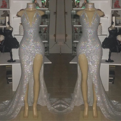 Sexy V-Neck Sleeveless 2020 Prom Dresses | Mermaid Evening Gowns With Slit BC0633_2