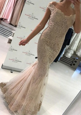 Glamorous Off-the-Shoulder Evening Dress   2020 Lace Mermaid Prom Dress_1