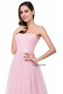 Pink A-Line Ruffles Spaghetti-Straps Simple Open-Back Evening Dress_2