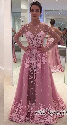 2020 Pink Overskirt Long-Sleeves Sheer Lace-Appliques Prom Dresses_2