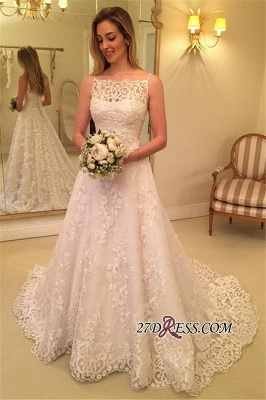 Lace Spaghetti-Straps Buttons Sweep-Train Sleeveless Wedding Dress_2