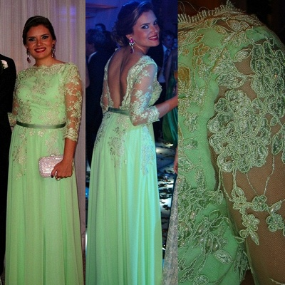 Lace Long Sleeve Open Back Dress New Arrival Gorgeous Gowns for Proms 2020 Appliques 3/4 Chiffon Evening_5