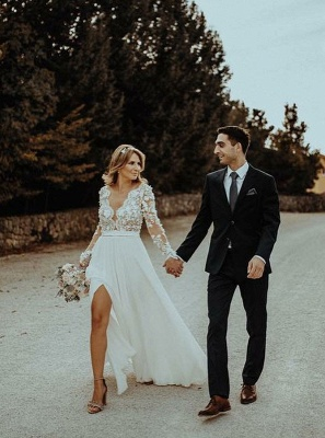 Charming Long Sleeves Lace Appliques Bridal Gowns | Long V-Neck Wedding Dress With Front Split BC3657_3