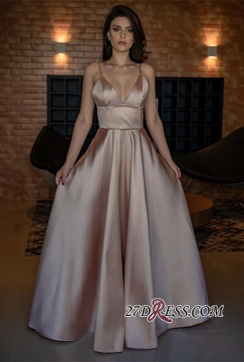 V-Neck Spaghetti-Straps Evening Dress | 2020 Sleeveless Simple Prom Dress_3