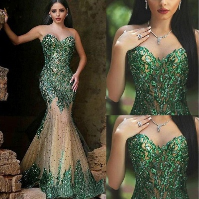 Glamorous Sleeveless Mermaid 2020 Prom Dresses Appliques Beadings Women's Party Gown MH0_3