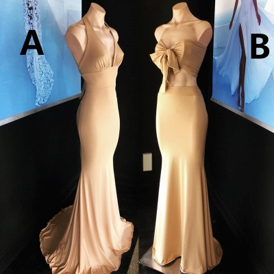 Sexy Champagne Sleeveless Mermaid Party Gown   Long Cheap Formal Dress_3