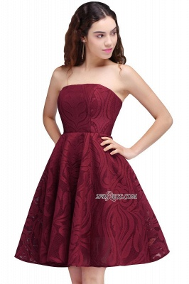 Short Simple Strapless Sleeveless Burgundy A-line Homecoming Dress_5