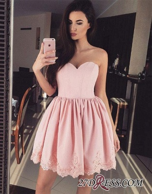 Cute Pink Sweetheart-neck Short Lace Homecoming Dress_2
