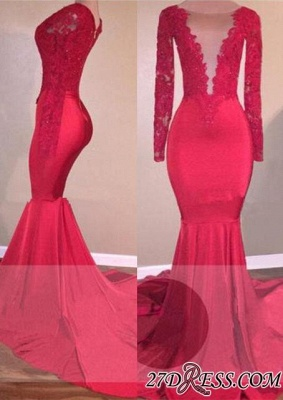 Sexy Lace-Appliques Long-Sleeve Mermaid Red Prom Dress BA5300_2