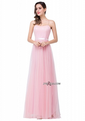 Pink A-Line Ruffles Spaghetti-Straps Simple Open-Back Evening Dress_4