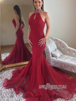 Crystal Sleeveless Red Tulle Long Prom Dresses | Elegant Halter Mermaid Evening Dresses bk0_3