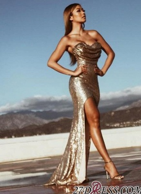 Sleeveless Side-Slit Ruched Mermaid Gold-Sequins Sexy Prom Dresses BA5018_2