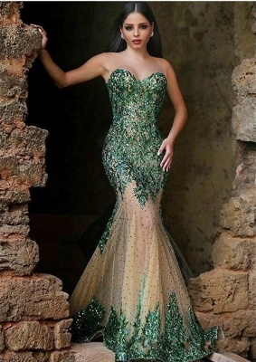Glamorous Sleeveless Mermaid 2020 Prom Dresses Appliques Beadings Women's Party Gown MH0_1