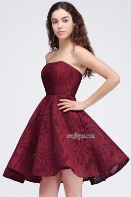 Short Simple Strapless Sleeveless Burgundy A-line Homecoming Dress_6