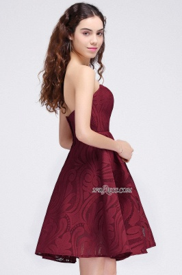 Short Simple Strapless Sleeveless Burgundy A-line Homecoming Dress_3