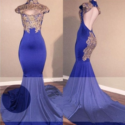 High-Neck Mermaid Prom Dress | 2020 Lace Appliques Evening Gowns BA9010_3