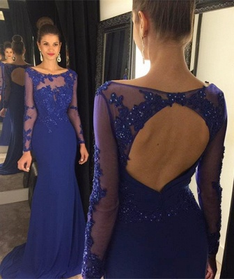 Elegant Lace Appliques Sequined Evening Dress 2020 Mermaid Long Sleeve AP0_1