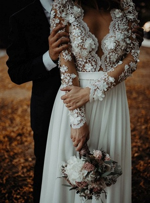 Charming Long Sleeves Lace Appliques Bridal Gowns | Long V-Neck Wedding Dress With Front Split BC3657_4