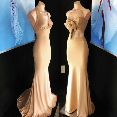 Sexy Champagne Sleeveless Mermaid Party Gown   Long Cheap Formal Dress_2