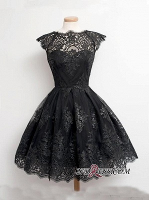 Black Little Knee-Length Lace Capped-Sleeves Homecoming Dresses_3