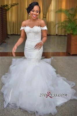 2020 Short-Sleeve Mermaid Off-the-shoulder Tulle Lace-up Modest Lace Wedding Dress BA6808_4