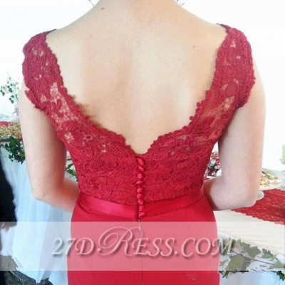 Red V-Neck Lace Bridesmaid Dresses Sweep Train Prom Gowns with Bottons_2