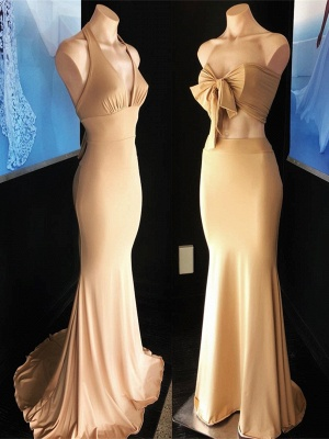Sexy Champagne Sleeveless Mermaid Party Gown   Long Cheap Formal Dress_1