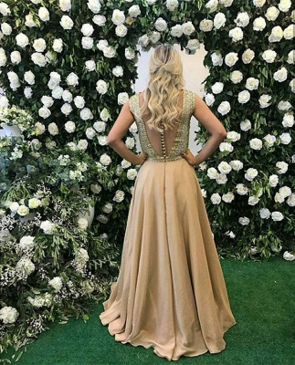 v-neck Sleeveless Prom Dress | 2020 A-Line Beads Evening Gowns_3