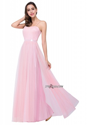 Pink A-Line Ruffles Spaghetti-Straps Simple Open-Back Evening Dress_1