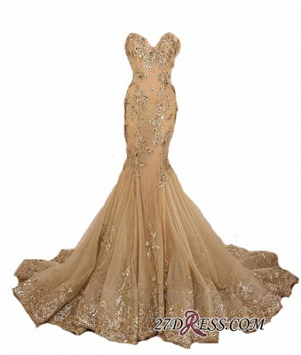 Lace-Up Sweetheart-Neck Lace-Appliques Gold Long Mermaid Prom Dresses BA5174_1