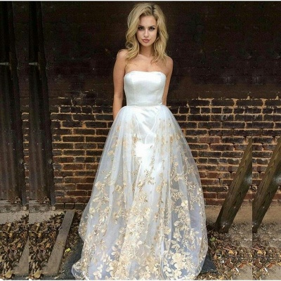 Glamorous Strapless 2020 Prom Dress Long Tulle Lace Appliques On Sale_3