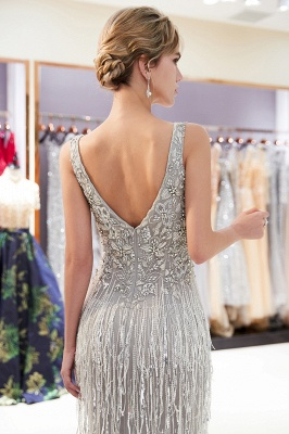Glamorous V-Neck Sleeveless Mermaid Prom Dresses | 2020 Long Sequins Evening Gown With Tassels_2