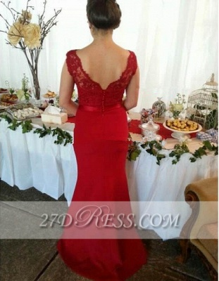 Red V-Neck Lace Bridesmaid Dresses Sweep Train Prom Gowns with Bottons_3