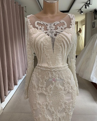 Mermaid Attractive Jewel Long-Sleeves Appliques Wedding Dresses_2
