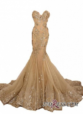 Lace-Up Sweetheart-Neck Lace-Appliques Gold Long Mermaid Prom Dresses BA5174_3