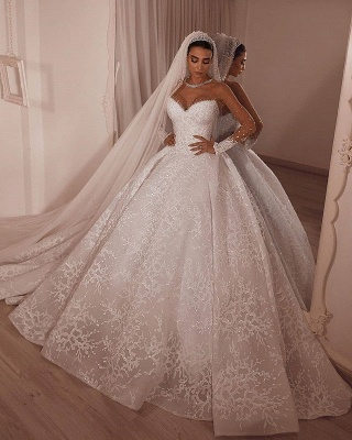 Luxury Strapless Beading Appliques Wedding Dresses Lace Sheer Tulle Bridal Gown_2
