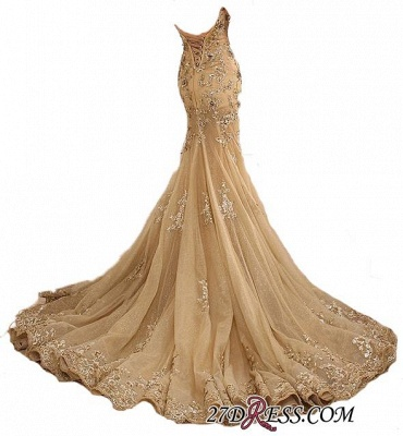 Lace-Up Sweetheart-Neck Lace-Appliques Gold Long Mermaid Prom Dresses BA5174_2