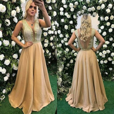 v-neck Sleeveless Prom Dress | 2020 A-Line Beads Evening Gowns_2