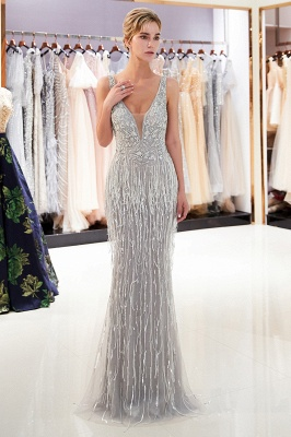 Glamorous V-Neck Sleeveless Mermaid Prom Dresses | 2020 Long Sequins Evening Gown With Tassels_1
